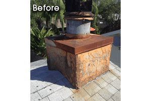 Before image of chimney repair