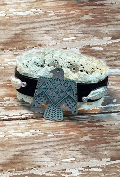 Leather bracelet with thunderbird