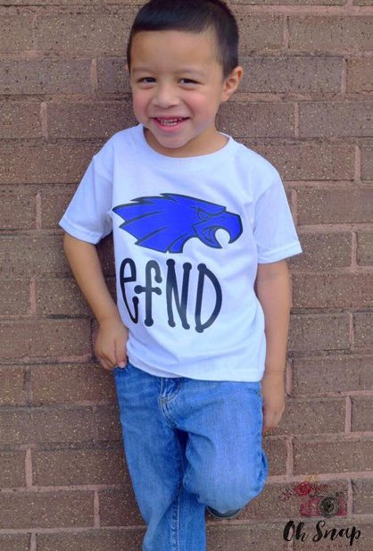 kid in defend shirt