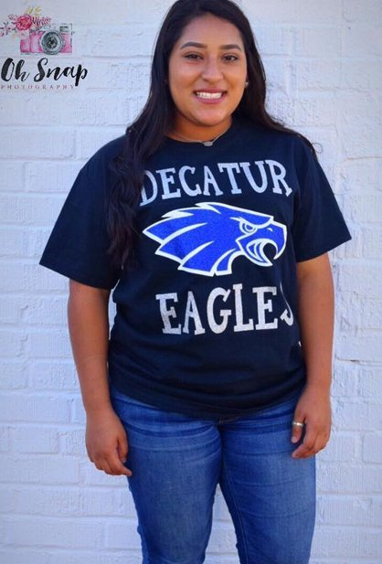 Girl in Decatur Eagle shirt