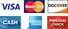 Visa, MasterCard, Discover, Cash, American Express, Personal check