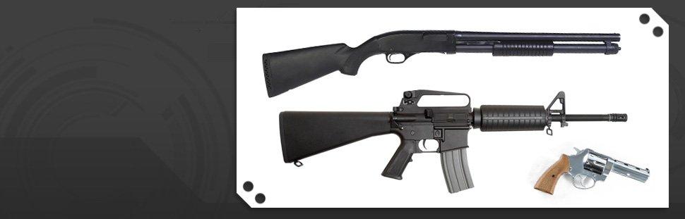 Riffle, shotgun and handgun
