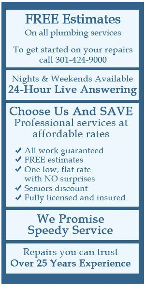 Plumbing repairs, water and sewer line services - Rockville, MD - H-Two-O Plumbing & Drain Service