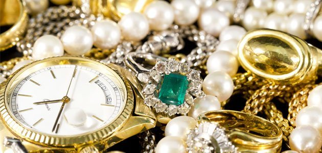 Gold jewelry and watch
