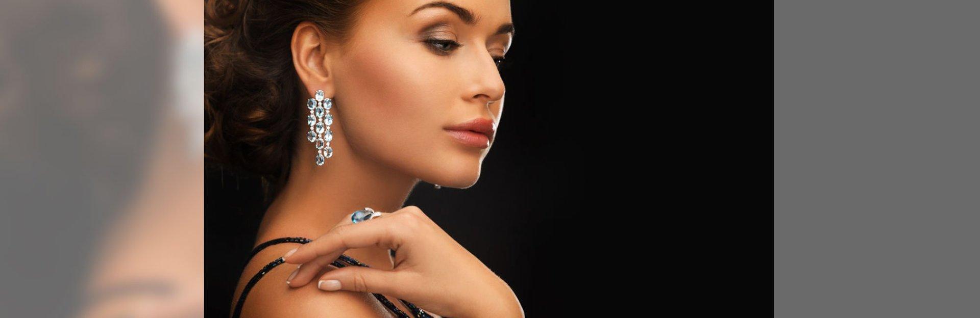 Lady wearing diamond earring