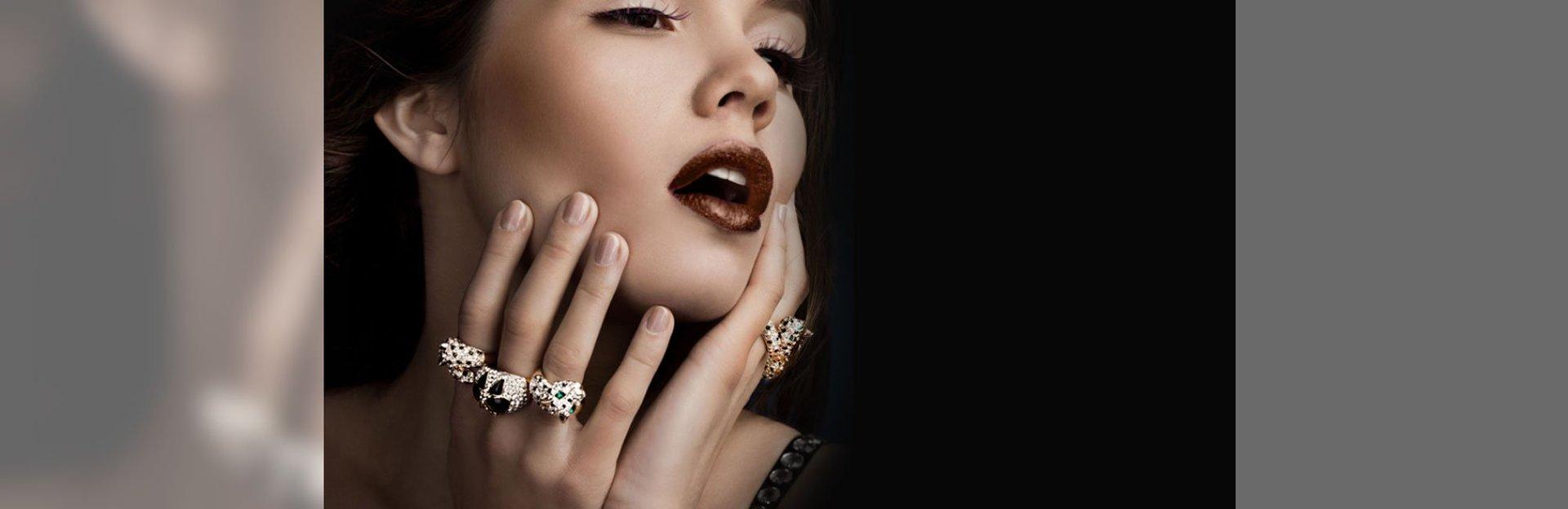Lady wearing gemstone diamond ring