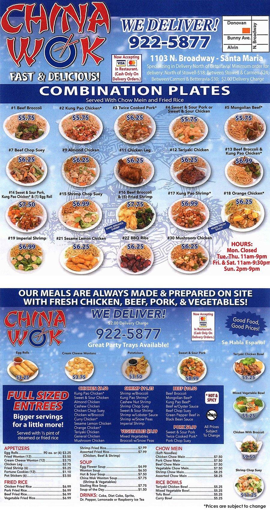 china wok full menu  santa maria ca  china wok