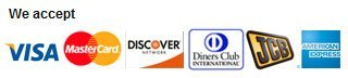 Visa, MasterCard, Discover, Diners Club International, JCB, American Express
