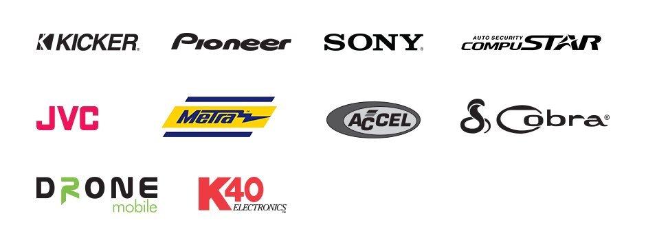 Kicker, Pioneer, Sony, JVC, Compustar, Drone Mobile, Metra, Accel, Cobra, K40