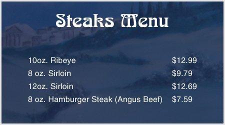 Steaks Menu