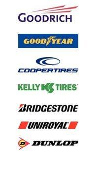 Goodrich, Goodyear, Cooper Tires, Kelly Tires, Bridgestone, Uniroyal, Dunlop logo