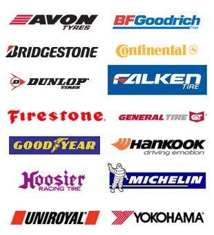 avon tyres, bfgoodrich, bridgestone, continental, dunlop, falken, firestone, general tire, goodyear, hankook, koosier, michelin, uniroyal, yokohama logo