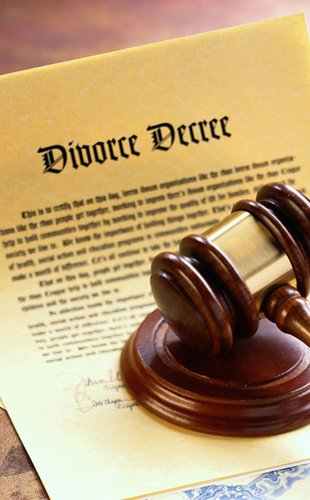 Divorce legal documents with the brown gavel