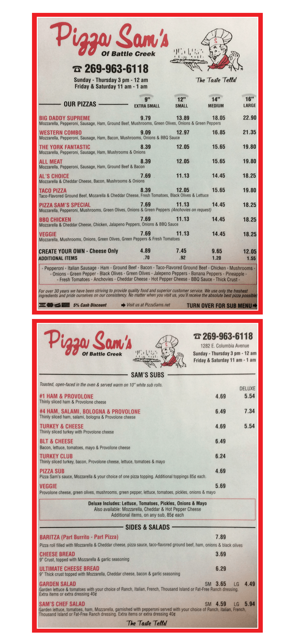 Menu |  Battle Creek, MI | Pizza Sam's | 269-963-6118