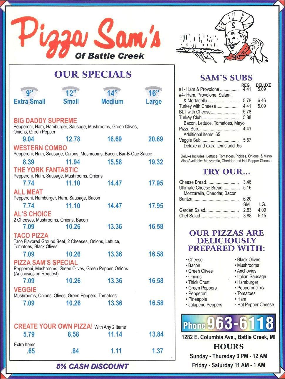 Menu |  Battle Creek, MI | Pizza Sam's | 269-963-6118