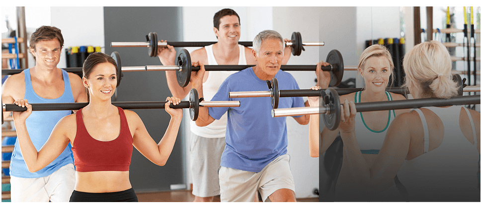 A group of people on barbells