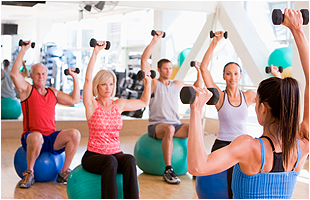 A group of people on dumbbells
