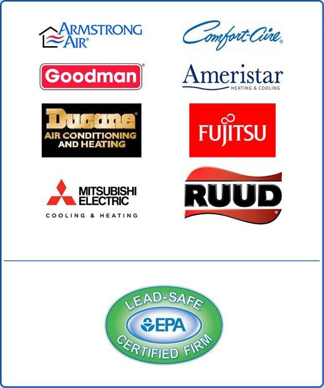 Armstrong Air   Ruud   Goodman   Ducane   Ameristar   Comfort-aire   Fujitsu   Mitsubishi   EPA certified