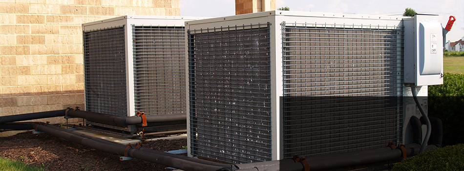 An aircondition unit outside