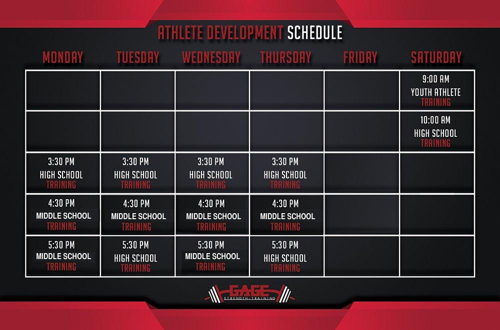 Athlete Development Schedule