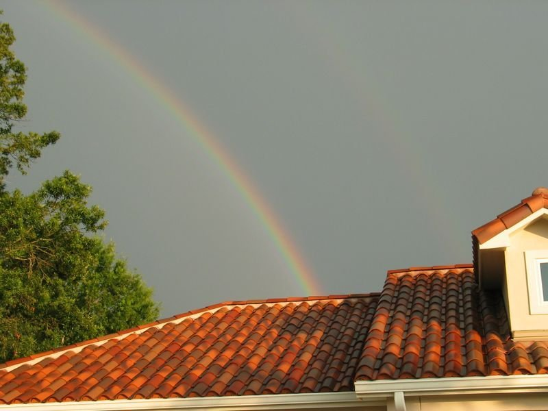 roof and rainbow