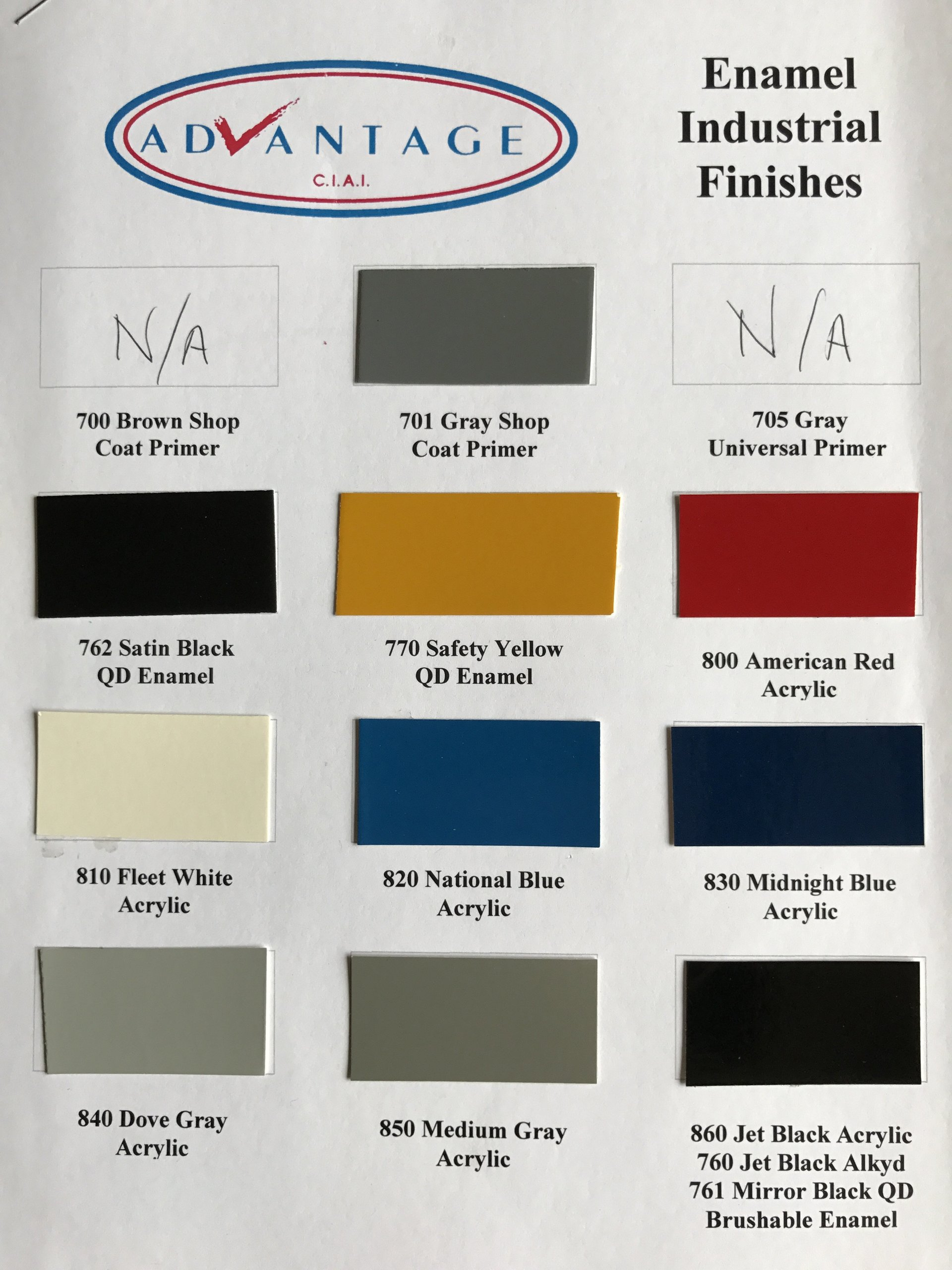 ADVANTAGE SINGLE STAGE ENAMEL INDUSTRIAL FINISHES
