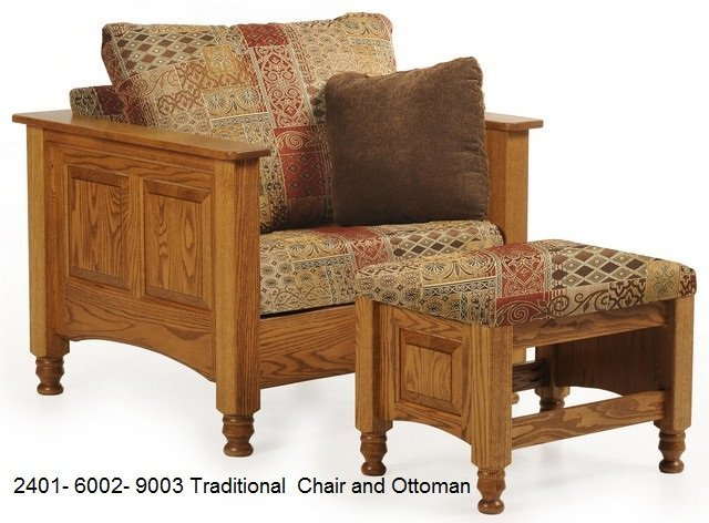 2401 6002-9003 Traditional chair and ottoman