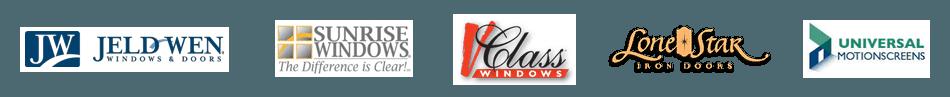 Jeld-Wen, Sunrise Windows, V-Class, Universal and Lone Star logos