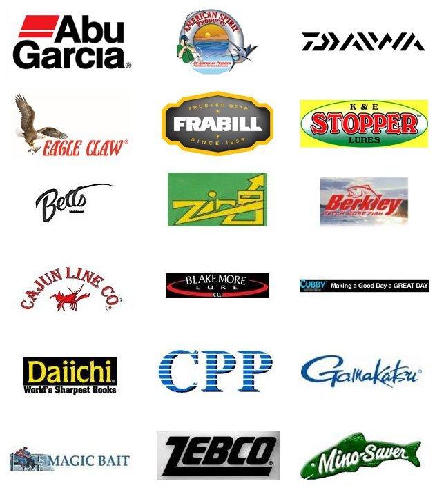 Abu Garcia | American Spirit | Daiwa | Eagle Claw | Frabill | K&E Stopper Lures | Betts | Zing | Berkley | Cajun Line Co | Blake More Lure | Cubby | Daiichi | CPP | Gamakatsu | Magic Bait | Zebco | Mino-Saver