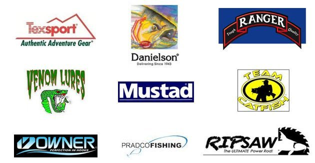 Texsport | Danielson | Ranger | Venom Lures | Mustad | Team Catfish | Owner | Pradco Fishing