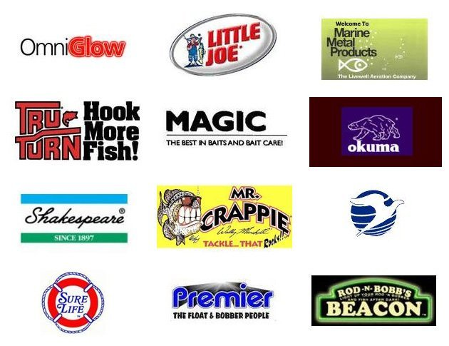 OmniGlow | Little Joe | Marine Metal Products | Tru Turn | Magic | okuma | Shakespeare | Mr. Crappie | Plastilie Corporation | Sure Life | Premiere | Rod-N-Bobb's Beacon