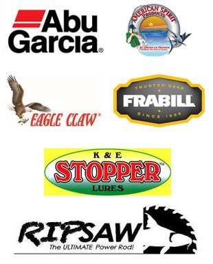 Abu Garcia, American Spirit Products, Eagle Claw, Frabill, K & E Stopper Lures logos