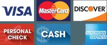 Visa, MasterCard, Discover, Personal check, Cash, American Express