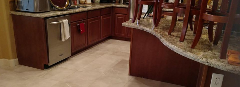 Kitchen floor and countertops