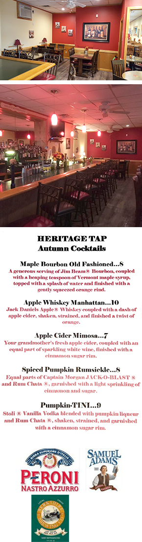Cold drinks | Pawtucket, RI | The Heritage Tap Bar & Grill | 401-725-8245