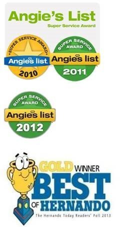 Angie's list super service awards for years 2010, 2011,2012