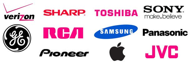 Verizon, Sharp, Toshiba, Sony, JVC, GE, RCA, Samsung, Panasonic, Pioneer, Apple