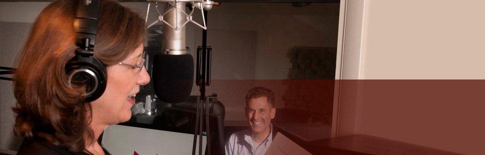 Female inside the recording studio