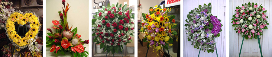 Florist funeral and other flower arrangements
