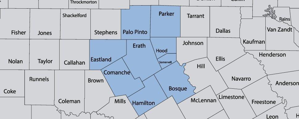 Santo Propane Company - Service Area Map