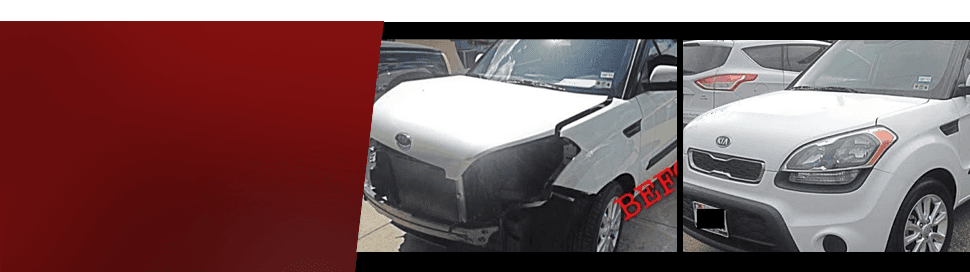 White car before and after repair