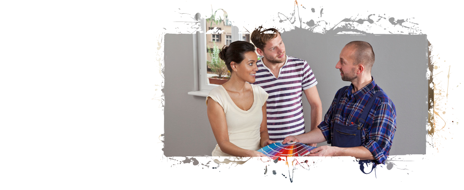 Couple talking to the painter while holding a list of paint color