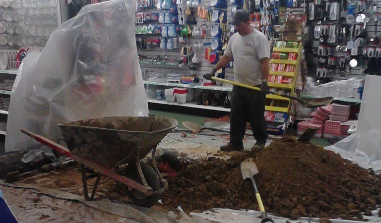 fixing plumbing issue in store