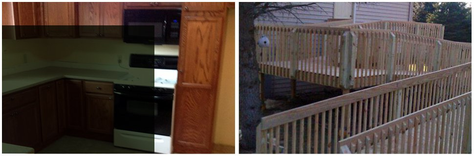 Kitchen cabinet and wooden fences