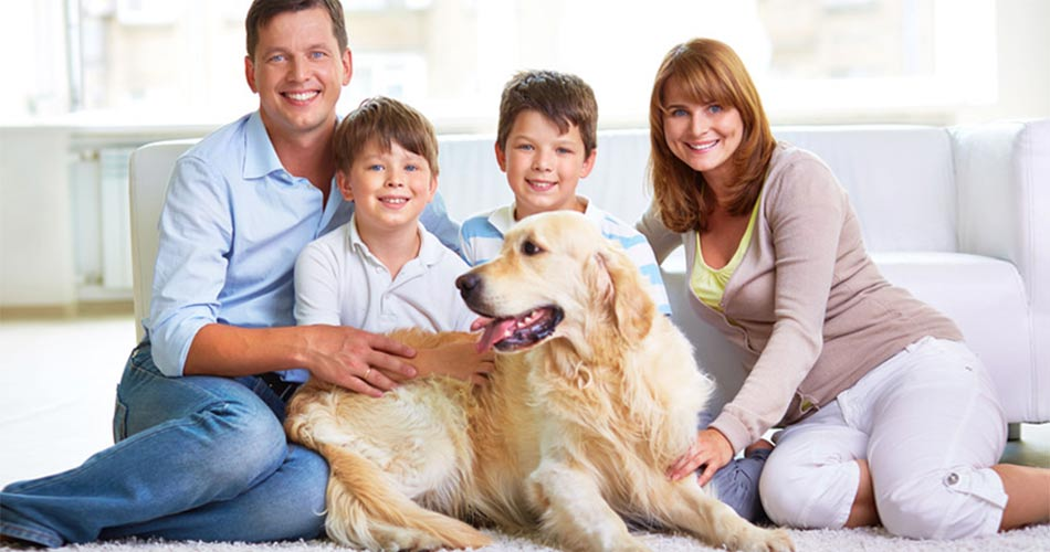 Happy family and dog