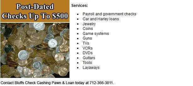Pawn Shops | Council Bluffs, IA | Glenwood IA| Bluffs Check Cashing Pawn | Glenwood Check Cashing Pawn & Loan