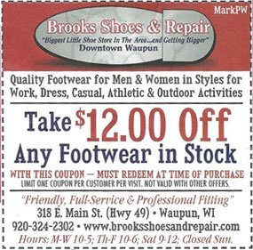 Special Coupons   Waupun, WI   Brooks Shoes & Repair   920-324-2302