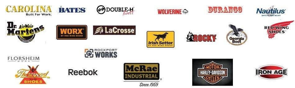 Bates | Carolina | Corcoran | Double H | Dr. Martens | Durango | Georgia | Irish Setter | Lacrosse | Matterhorn | Nautilus | Nurse Mates | Red Wing | Rocky | Wolverine | Work One | Worx
