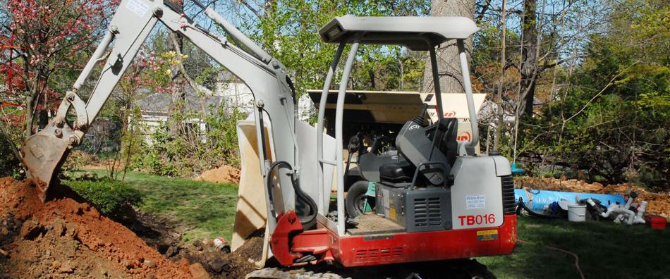Excavation service in garden