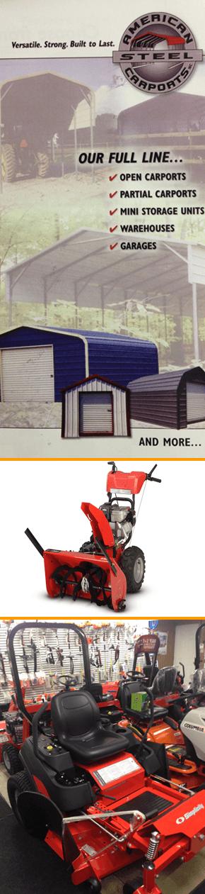 Snow blower, steel carport, and simplicity zero turn